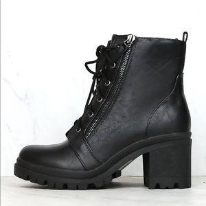 Black Lug sole lace up combat boots